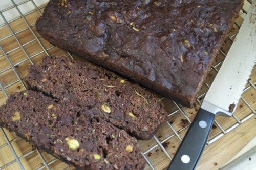 zucchini bread with chocolate, coconut & pistachios