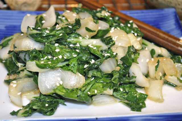 bok choy with soy, sesame, garlic & ginger feature