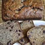 banana bread with olive oil, cranberries & chi...