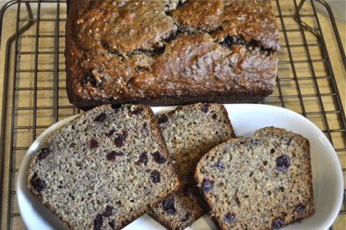 banana bread with olive oil dried cranberries & chia seeds